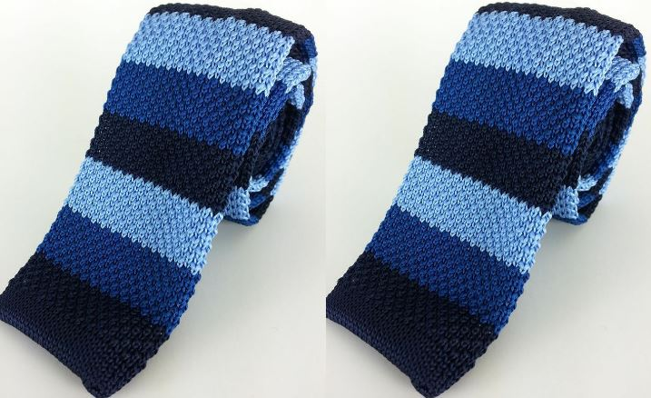 Navy Stripe Knitted Skinny Tie Top Most Famous Selling Ties for Men 2018