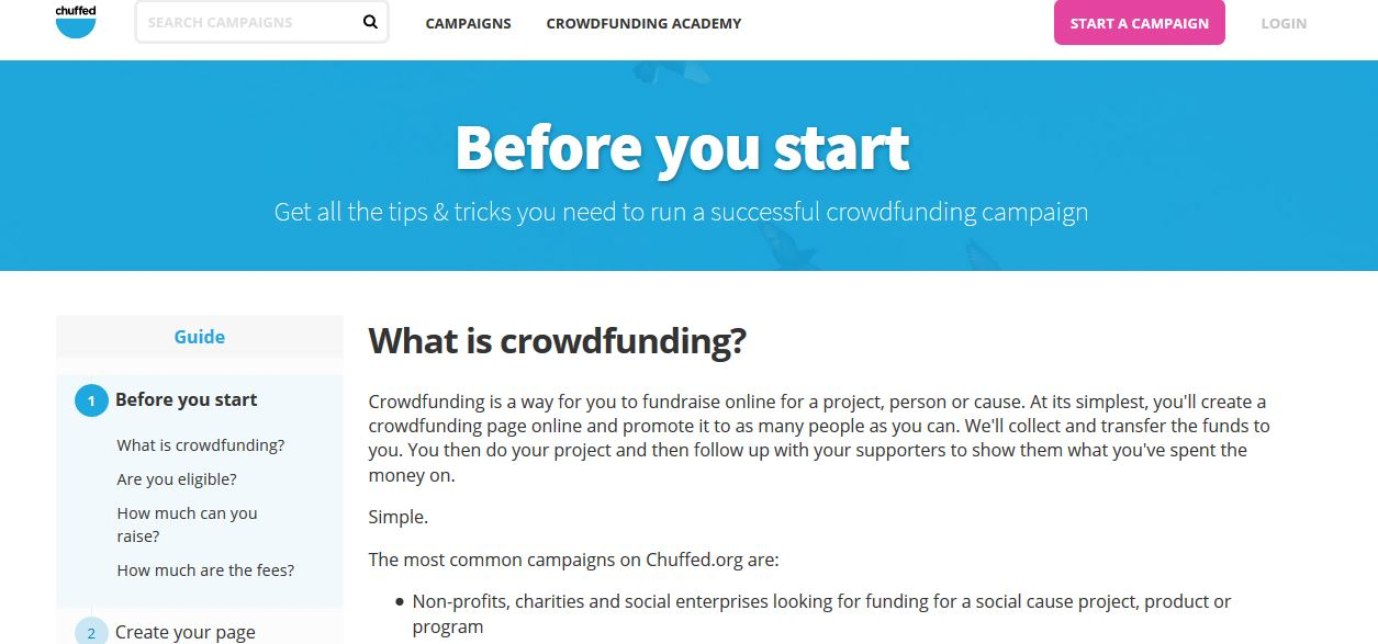 Chuffed Top Popular Crowdfunding Sites in World 2018