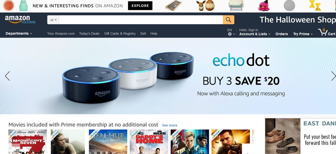 Amazon Top Popular Online Shopping Websites in India 2019