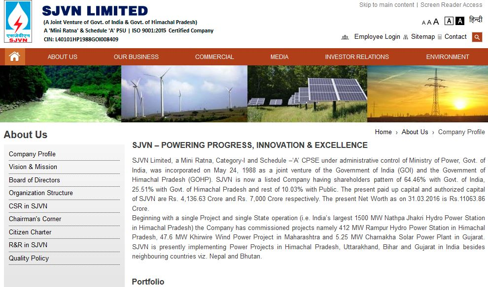 SJVN Limited Top Most Popular Largest Power Generation Companies in India 2017