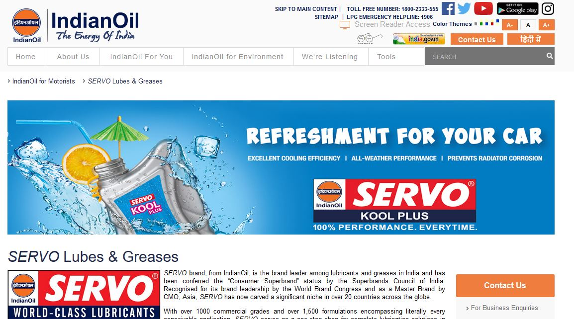 Indian Oil Corporation Limited-Servo Top Most Popular Lubricant Companies in India 2018