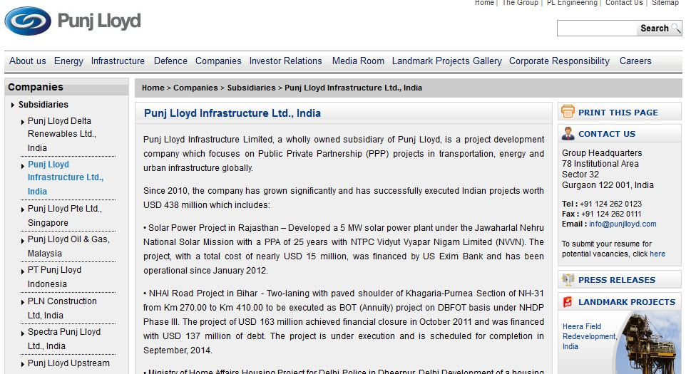 Punj Lloyd Infrastructure Limited Top Popular Infrastructure Companies in India 2017
